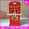 Handmade Telephone Booth Shape Wooden Red Piggy Banks for Girls W02A270