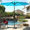 New 9 FT Aluminum Umbrella Patio Yard Beach Sun Shade W/ Crank & Tilt Turquois