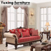 Antique Fabric Sofa American Classical Couch with Table Set for Living Room