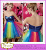 Abigale Hot Sale Sweetheart Sequined Ruffle Bodice Empire Waist Colorful Rainbow Tulle Skirt Cocktail Dresses 2013