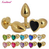 Large Size Golden Heart Shaped Stainless Steel Crystal Jewelry Anal Butt Plug