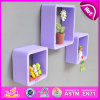 2015 Best Colourful Cube Wall Shelf, MDF Round Cube Wall Shelf Purple, 3 Sets Round Corner Cube Wood Storage Wall Shelf W08c104e