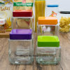Factory Wholesale Bottle Transparent Square Elegant Storage Glass Jar (100082)