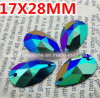 17X28mm Green Ab Pear Drop Resin Sew on Rhinestones Resin Stone