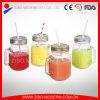 Wholesale Square Glass Mason Jar 16oz Mug Cup with Handle and Straw