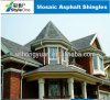 Hexagonal Type Mosaic Fiberglass Roof Shingles / Bitumen Material