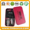 Rectangular Metal Cosmetic Tin Box for Makeup Brush Kit
