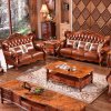 Classical Leather Sofa with Wood Cabinets for Living Room Furniture