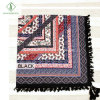 Fashion Twill Cotton Scarf Geometric Printed with Tassel Square Shawl