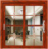 Luxury Interior Aluminum Frame Sliding Door with Art Glass
