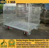 Metal Stackable Steel Wire Mesh Pallet Cage, Folding Wire Mesh Box Baskets, Metal Storage Cage Container for Warehouse Storage