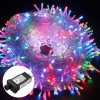 Excelvan Safe Low Voltage 8 Modes 500 LEDs 100m/328FT Dimmable Fairy String Lights with Transparent String for Bedroom Patio Garden Gate Yard Party Wedding Chri