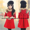 Girls′ No Collar Coat Children Clothes with Wool on Shoulders and Big Bow on The Back