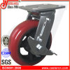 6X2 Korea Type Rounded PU Swivel Casters with Side Brake