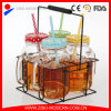 4PC Mason Jars Set with Lid and Straw and Metal Rack