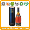 Custom Cylindrical Metal Gift Wine Tin for Whisky Vsop Vodka