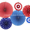 Foldable Party Decoration Hanging Handmade Paper Wheel Fan Rosette with Rope and Sticker