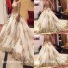 2016 Gold Lace Bridal Gown Sleeves Arabic Wedding Dress (W15224)