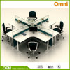 Office Workstation for Four Person; Wood Panel Workstation (OM-CB-01-30mm)