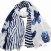Lady′s Stripe&Flourish Joint Printing Viscose Scarf (HWBPS023)