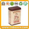 Custom Rectangular Metal Tin Canister for Cocoa with Food Safe
