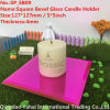 4mm Rose Colored Glass Mirror Candle Holder