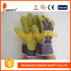 Yellow Cow Split Leather Work Gloves Stripe Cotton Drill Back Safety Gloves Dlc311