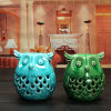 New Porcelain Vintage Handmade Cute Ceramic LED Owl Candle Holder Home Decoration/ (blue and green)