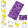 Customized Micro Fiber Purple Paisley Multifunctional Seamless Magic Scarf