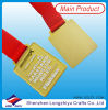 Gold Plated Square Medal Hanger with Ribbon