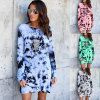 Autumn and Winter New Digital Print Dew - Back Hollowed-out Dresses