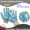 Kevlar Knitted Glove with 2-Side PVC Strip Coating