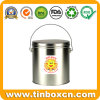 Round Tin Pail with Handle for Chocolate Biscuit, Tin Bucket