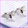 Silver Plated Blue Rhinestone Drogonfly Men′s Cufflink