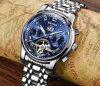Fashion Multi-Functional Men′s Tourbillon Automatic Mechanical Watch Night Light Waterproof