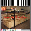 Metal and Solid Wood Structure Supermarket Gondola Shelves