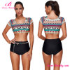 Sassy Colorful Cap Sleeves Crop Top Bikini Tie Bottom