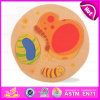 2015 Cartoon Customized Round Kids Puzzle, Butterfly Animal Shaped Jigsaw Puzzles, Round Shaped High Quality Wooden Puzzle W14L012