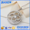 Flower Shape Zircon Pendant 925 Silver Necklace