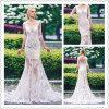 Scoop Neck Half Sleeves Appliques Mermaid Wedding Dress (Dream-100081)