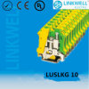 DIN Rail Mounting Yellow Green Ground/Earth Terminal Block (LUSLKG 10)