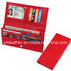 Fashion Red PU Leather Lady Travel Wallet