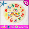 2015 Wooden Kids Puzzle Alarm Clock, Children Wooden Clock Puzzle Game, Educational Learning Clown Time Wooden Puzzle Toy W14m077