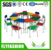 Simple Set Kids School Furniture Colour Wooden Desk with Chair