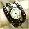 New Arrival Ladies Bronze Genuine Leather Strap Vintage Leather Watch (OW2608)