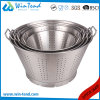 Kitchen Chef Drain Strainer with Base and Two Riveted Handle