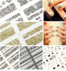 3D Black Gold Lace Mustache Flowers Nail Art Stickers Nail Sticker
