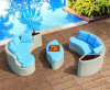 Contemporary Poolside Furniture Selectional Rattan Sofa Set with Coffee Table