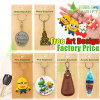 OEM Enamel Colorful Flexible Rubber Rhinestones Metal Keyring Floating