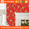2016 Home Decorative Flower Wall Paper in Red and White